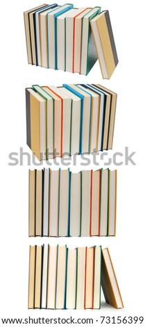 Set of book stacks - stock photo