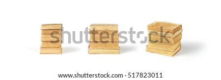 Set of book stacks isolated on white background