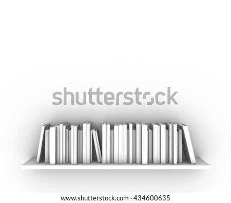 Set of books on a shelf standing on a white background.3D illustration