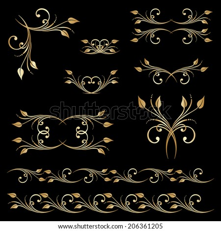Set of borders, decorative elements for design, print, embroidery. Raster version. - stock photo