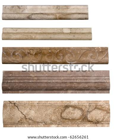 Set of borders stone marble isolated on white background - stock photo