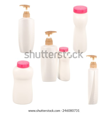 Set of bottle of shampoo, conditioner, hair rinse, baby powder isolated on a white background - stock photo
