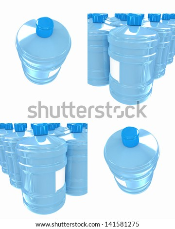 Set of bottle with clean blue water - stock photo