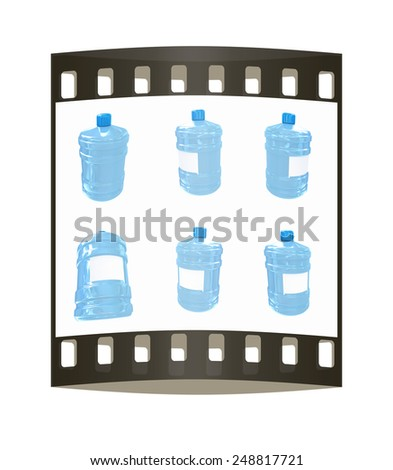 Set of bottle with clean blue water  on a white background. The film strip - stock photo