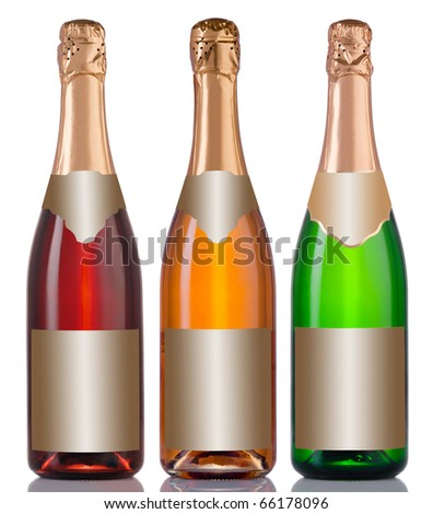 Set of bottles champagne isolated on white background - stock photo