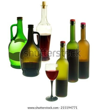Set of bottles of wine and one glass. White background - stock photo
