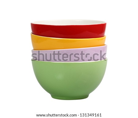 Set of Bowls. Isolated with Clipping Path.