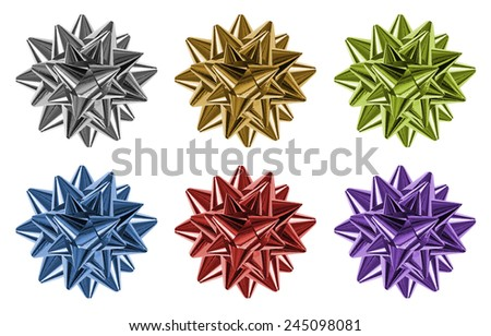 Set of  bows made of multicolored shiny ribbons, isolated - stock photo