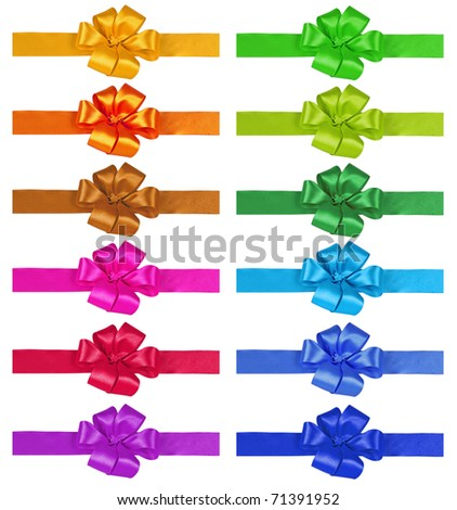 Set of bows on a white background - stock photo