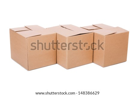 Set of boxes isolated on white