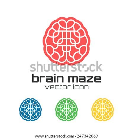 Set of brain maze icons. Concept logo - stock photo