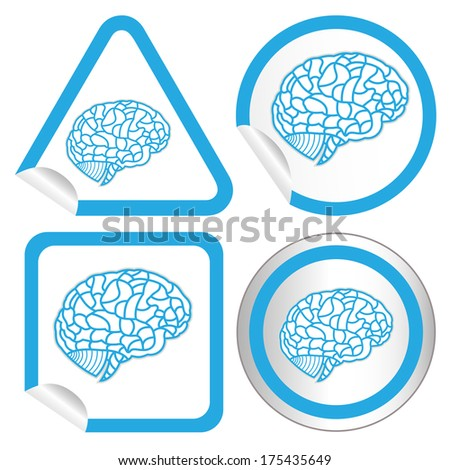 set of brain model on sticker icon web button. bitmap illustration - stock photo