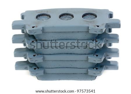 Set of brake pads, isolate on white - stock photo