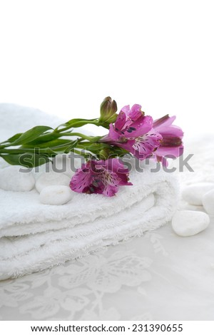 Set of branch pink orchid on towel with stones and white lace  - stock photo