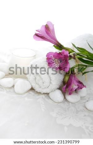 Set of branch pink orchid ,towel with stones and white lace  - stock photo