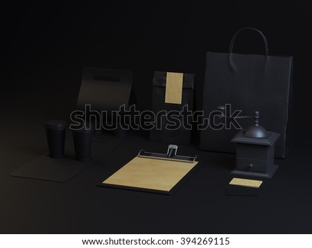 Set of branding elements for cafe on dark background - stock photo