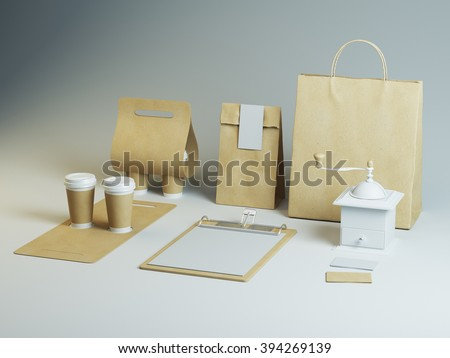 Set of branding elements for coffee shop or restoraunt. Light mockup, empty craft style package