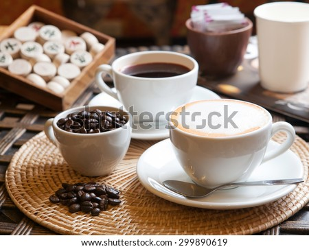 Set of breaking time coffee with chinese chess - stock photo
