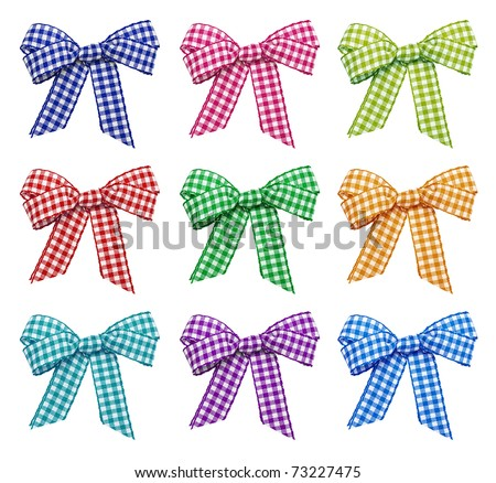 Set of bright bows on the white background - stock photo