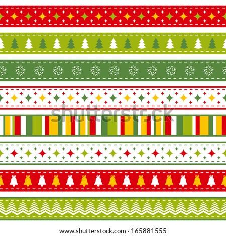 set of bright Christmas ribbons - stock photo