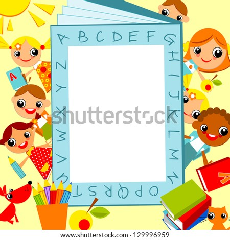 set of bright colored children, against the background of the alphabet as a frame for text. raster version