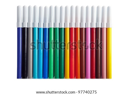 Set of bright colored markers closeup.