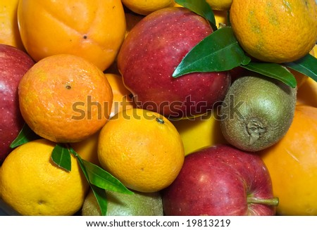 Set of bright, colorful fruits