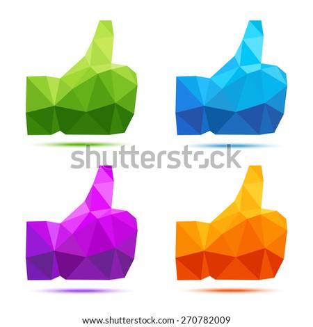 Set of bright colorful geometric polygonal thumb up icons - stock photo