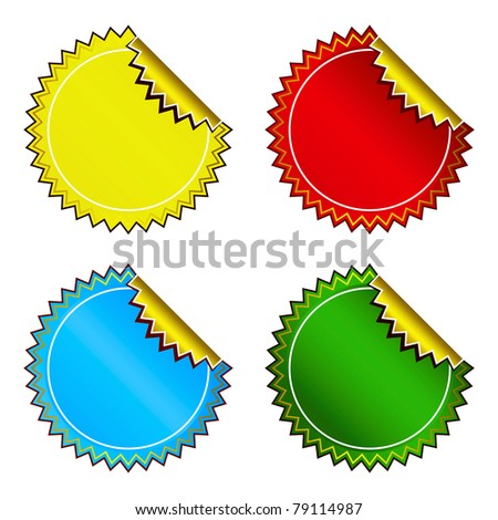 Set of bright colorful stickers - stock photo