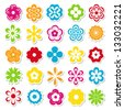 set of bright flower stickers (raster version of the vector) - stock photo