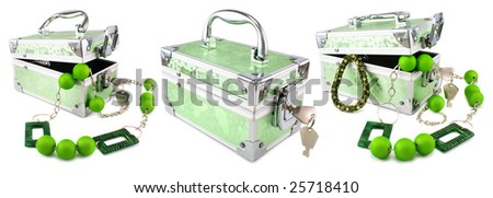 Set of bright green trunks, beeads and armlets isolated on a white background