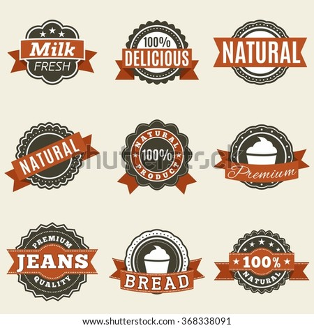 Set of bright labels pattern on a beige background.