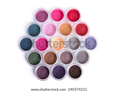 Set of bright mineral eye shadows, top view isolated on white background  - stock photo