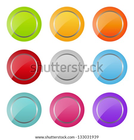 set of bright round buttons (raster version of the vector)
