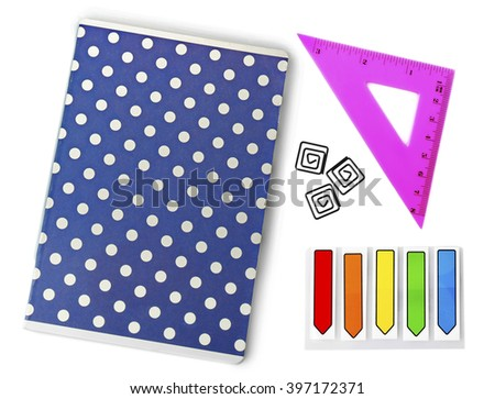 Set of bright school stationery, isolated on white - stock photo