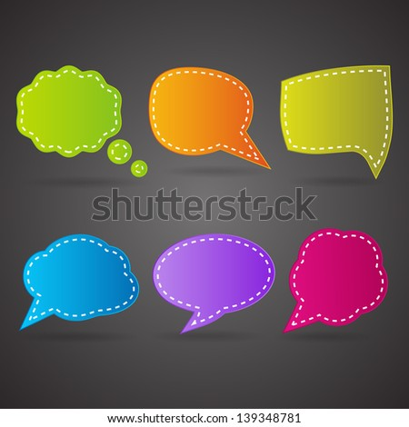 set of bright speech bubbles on the black background (raster version of the vector)