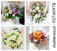 Set of brightness wedding bouquet - stock photo