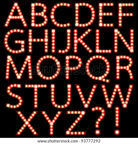 Set of broadway light bulb letters isolated on a black background - stock photo