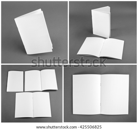 Set of brochures on gray background