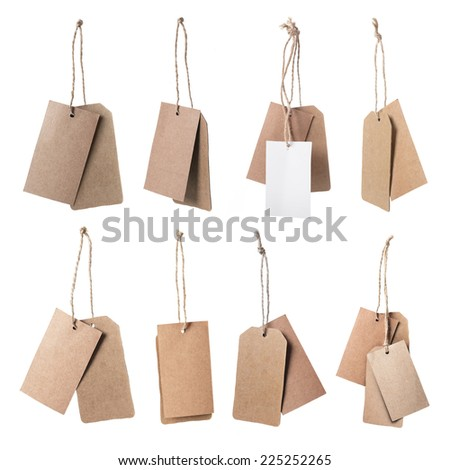 Set of brown blank price tag isolated on white background  - stock photo