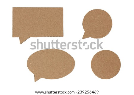 Set of brown cardboard speech bubbles