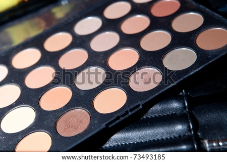Set of brown eyeshadow palette
