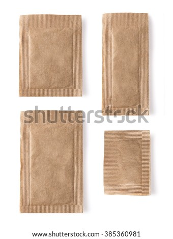 Set of Brown sugar packet on white background  isolated  - stock photo