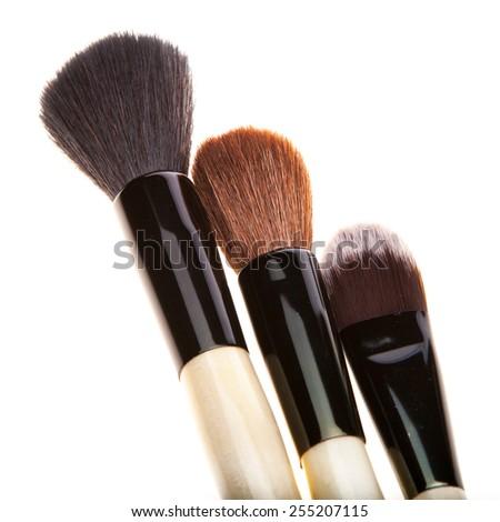 Set of brushes for make-up, isolated on white background - stock photo