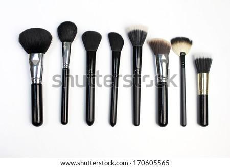Set of brushes for powder. Isolated on white background - stock photo
