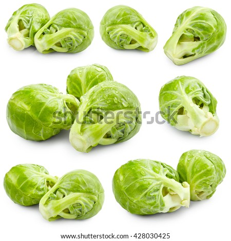 Set of brussels sprouts isolated on white background - stock photo