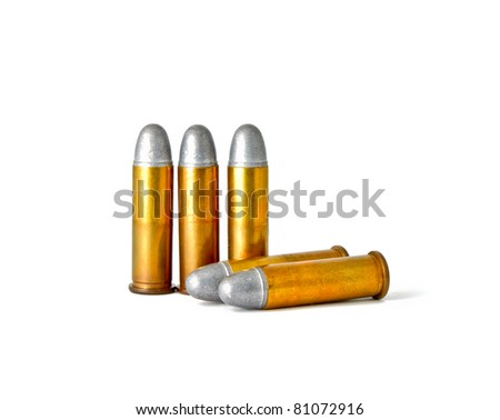 Set of bullets for 38 revolver hand gun - stock photo