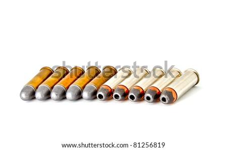 Set of bullets for 38 revolver handgun, studio shot - stock photo