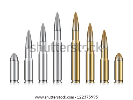 Set of bullets on white background