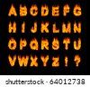 Set of burning Latin alphabet letters. Artistic font. Digital illustration isolated on black background. - stock vector